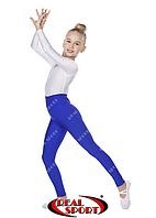 Лосины для художественной гимнастики и танцев, синие RS GM040030 (эластан, р-р 1-4, рост 104-152см)