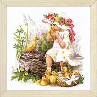 Набор для вышивания крестом Риолис 1781 «Девочка с утятами»