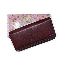 Женский кожаный кошелек на магните BALICIA темно бордовый , фото 1
