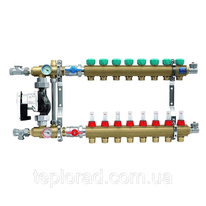Коллектор для теплого пола KAN с расходомерами (серия 73E) на 8 выходов (7308E)