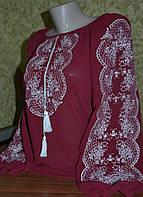 """Шифонова блузка з вишивкою """"Аманда"""" бордова"""
