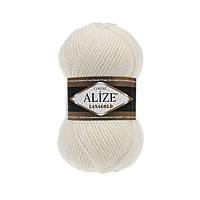 Alize Lanagold (Ализе Лана Голд) молочный №62 (Пряжа, нитки для вязания полушерсть), фото 1