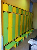 Двухъярусный шкаф 5-секционный c лавочкой для раздевалки Design Service (1180)