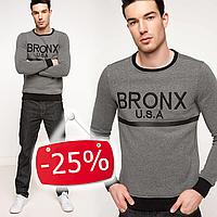 Серый мужской свитшот De Facto/ Де Факто с черной окантовкой и надписью на груди Bronx, фото 1