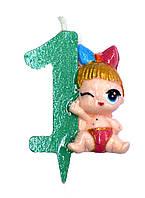 """Свеча для торта цифра """"Кукла L.O.L-1""""."""