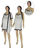 NEW! Комплекты одежды для беременных и кормящих - ночная рубашка и халат Klipsa Leto Grey ТМ УКРТРИКОТАЖ!
