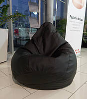 Черное кресло-мешок груша 120*90 см из кож зама Зевс, фото 1
