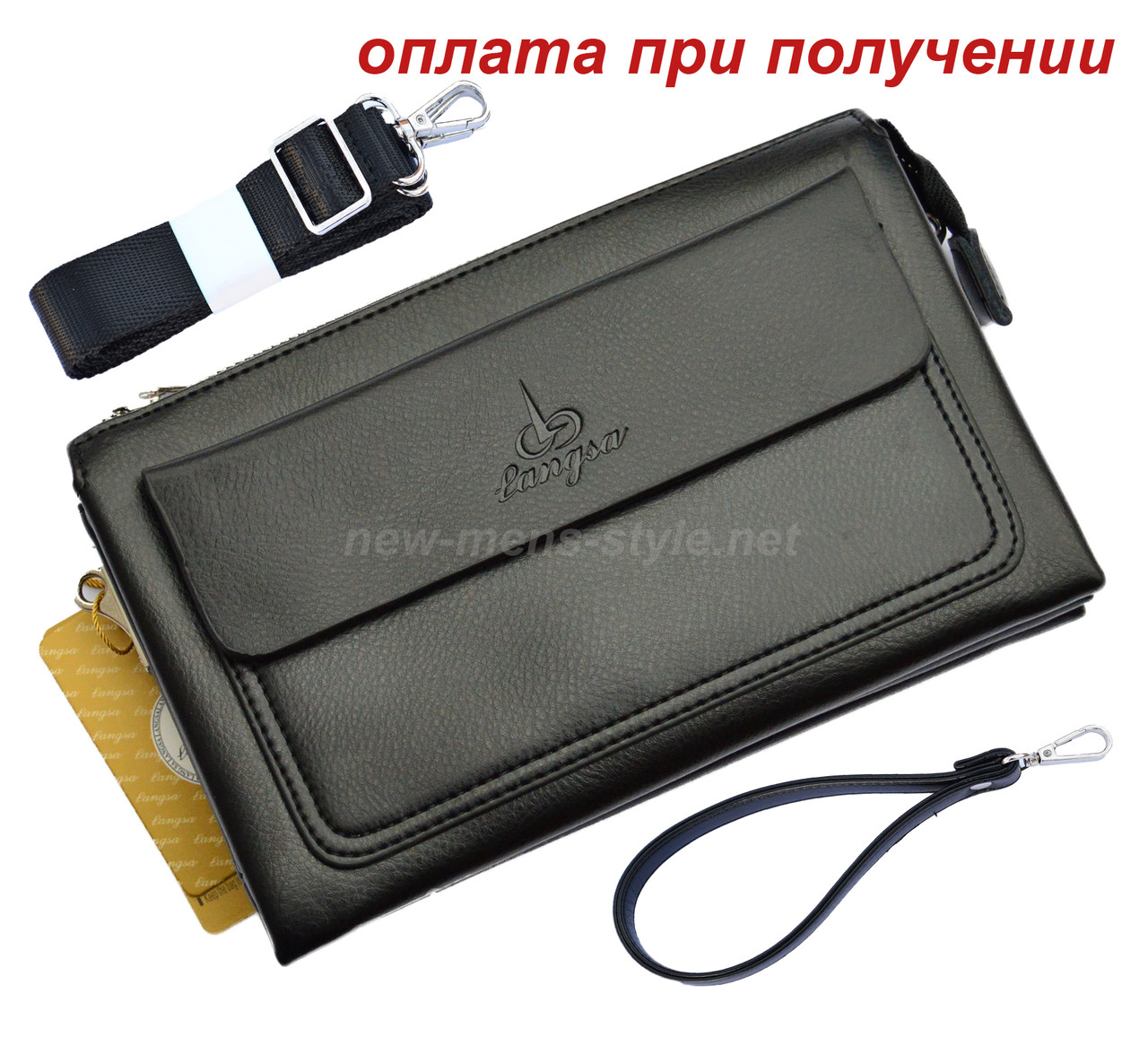 Чоловіча шкіряна натуральна сумка барсетка барсетка клатч Langsla NEW