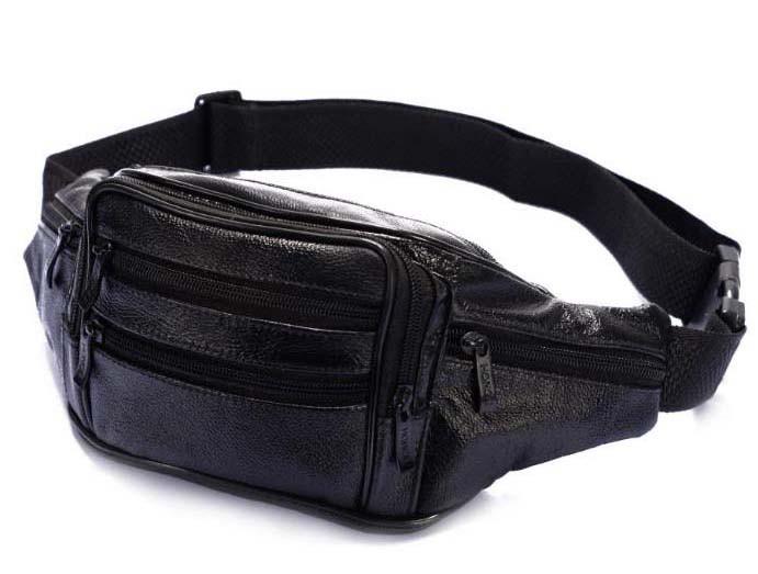 5664619208fd Кожаная сумка мужская на пояс бананка поясная барсетка через плечо R002  черная