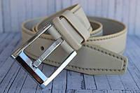 Джинсовый ремень мужской бежевый кожаный 40мм