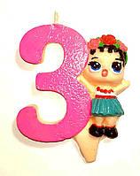 """Свеча для торта цифра """"Кукла L.O.L-3""""."""