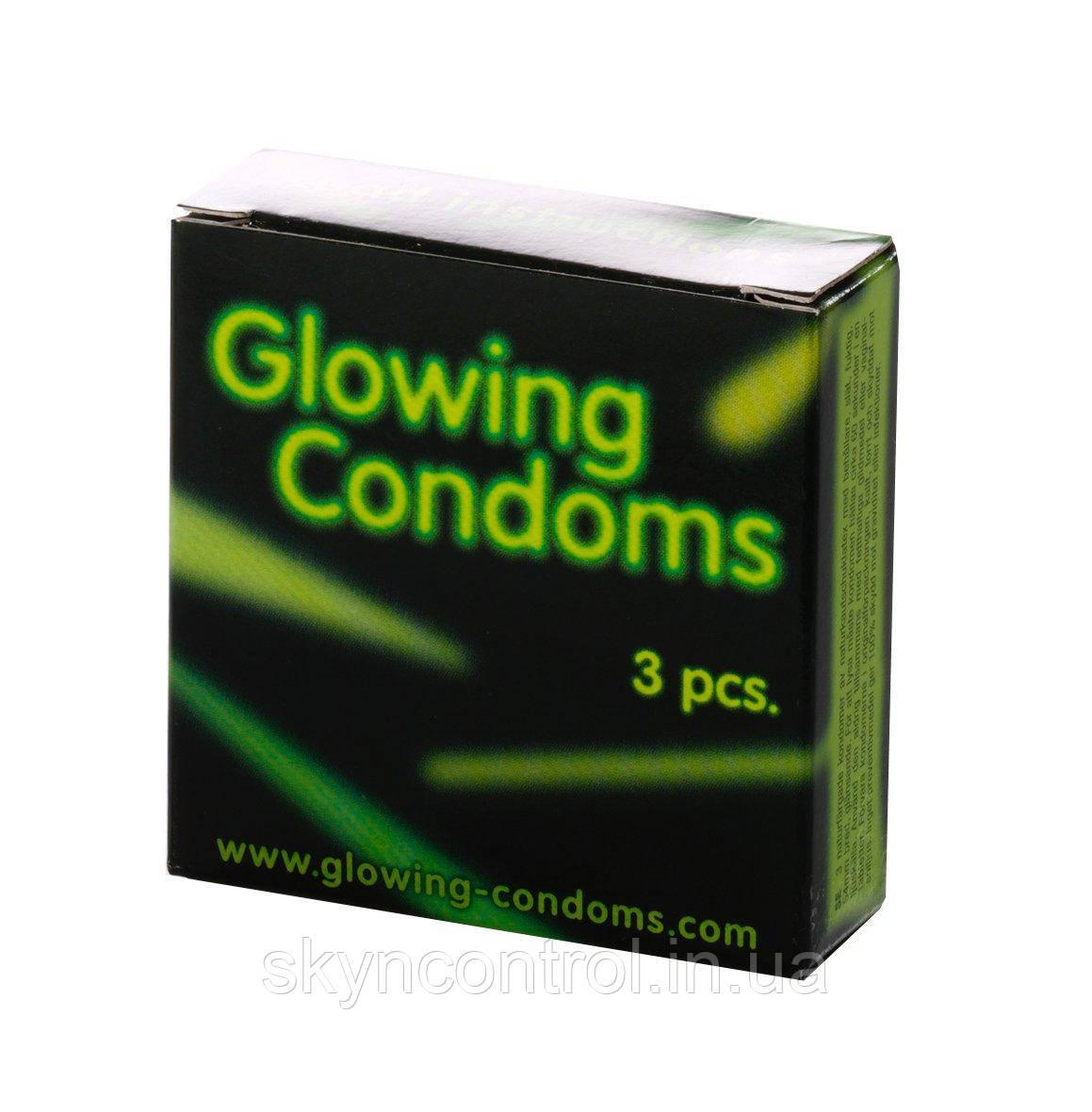 Светящиеся презервативы Glowing Condoms 3 штуки