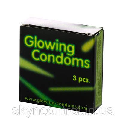 Светящиеся презервативы Glowing Condoms 3 штуки, фото 2