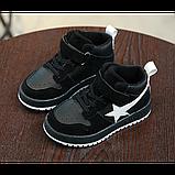 Хайтопы детские демисезонные PU кожа черные Размер: 33, фото 3