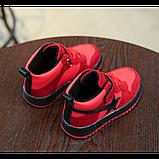 Хайтопы детские демисезонные PU кожа красные Размер: 33, фото 4