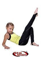 Лосины со следом для художественной гимнастики, черные RS GM040037 (хлопок, р-р 60-72, рост 110-146см)