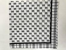 Хлопковая бордовая бандана чёрно-белая с геометрическим рисунком