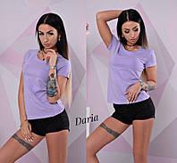 Футболка женская, х/б, стильная, цвет лиловый, 524-033