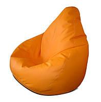 Мега большое оранжевое кресло-мешок груша 140*100 см из кож зама Зевс