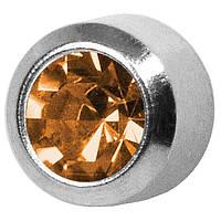 Серьги для прокола мочки уха R211W Топаз Ноябрь без покрытия