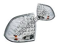 Задние тюнинг фонари Лада Приора (ВАЗ 2170, 2172), светодиодные,  хром