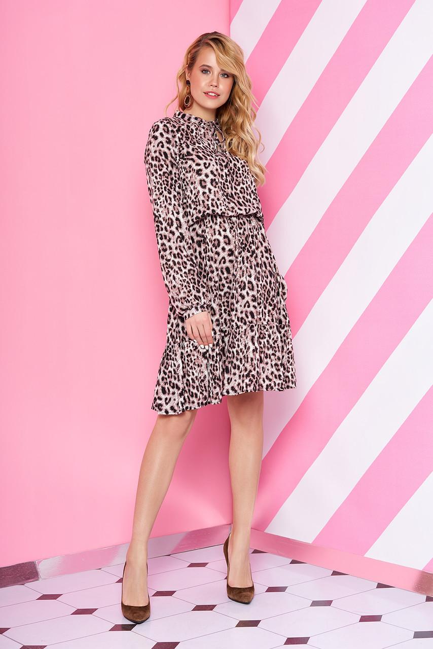 Леопардовое платье с длинным рукавом