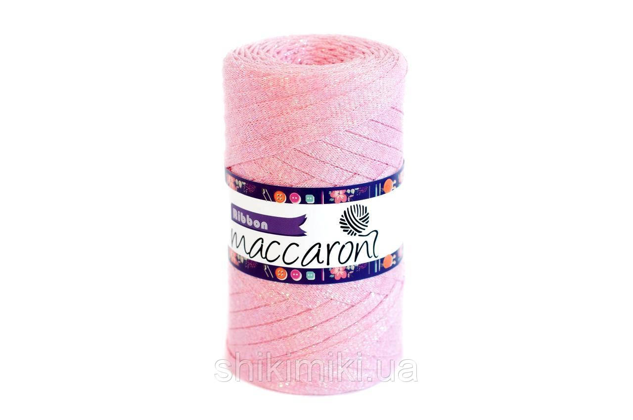 Трикотажний плоский шнур Ribbon Glitter, колір Світло-рожевий