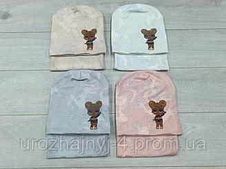 Трикотажный комплект шапка и хомут LOL подкладка х/б р52-54. 5 шт в упаковке.