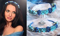 """Голубой обруч для волос с розами """"Небесная тайна"""""""