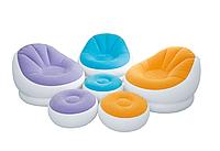 Надувное кресло-велюр Intex с пуфиком 104х109х71 см (68572)