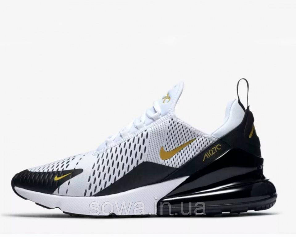 "✔️ Кроссовки Nike Air Max 270 ""White/Black/Metallic Gold"""