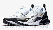 "✔️ Кроссовки Nike Air Max 270 ""White/Black/Metallic Gold"" , фото 3"
