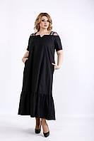 5441f429001 Черное платье скрывающее живот и бока 01096