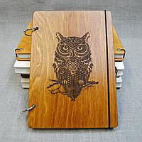Скетчбук Сова на ветке. Блокнот с деревянной обложкой.