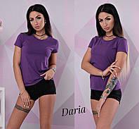 Футболка женская, х/б, стильная, цвет фиолетовый, 524-035