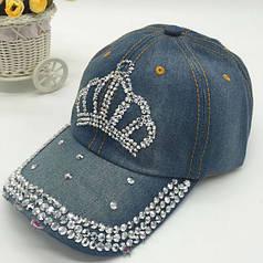 Женская джинсовая кепка с короной и стразами (hub_np2_0666)