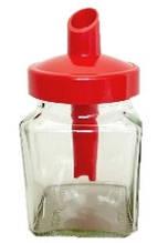 Стеклянная сахарница 270 мл квадратная Everglass с красным пластиковым дозатором