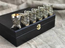 """Чарки подарочные из бронзы """"Благородство"""" 6 штук, в кейсе из эко-кожи"""