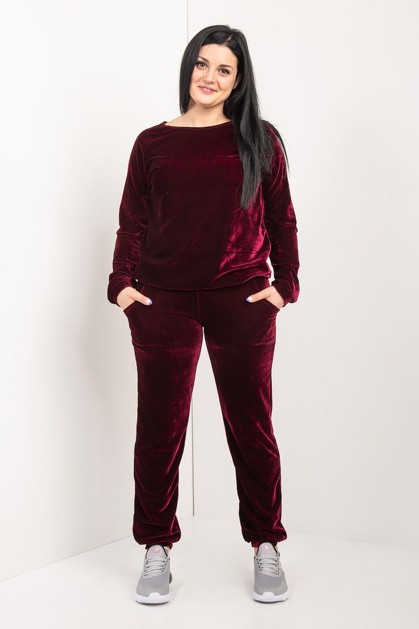 Женский велюровый костюм бордового цвета 46-64 р-р
