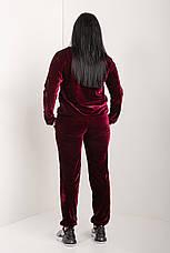 Женский велюровый костюм бордового цвета 46-64 р-р, фото 3