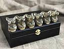"""Набор подарочных стопок из бронзы """"Сила"""" 6 штук, в кейсе из эко-кожи, фото 3"""