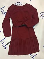 Платье для девочки цвет марсал размеры 4-14 лет
