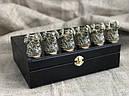 """Набір бронзових чарок ручної роботи """"Завзятість"""" 6 штук, в кейсі з еко-шкіри, фото 3"""