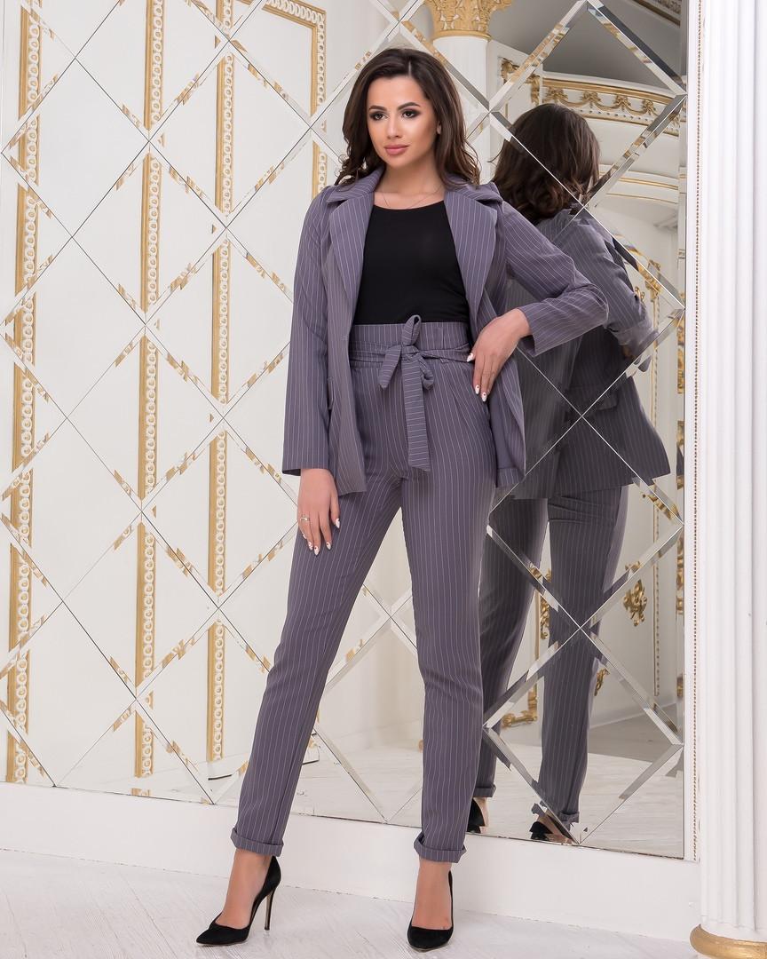 5a55fded036f Женский классический брючный костюм с жакетом деловой стиль, серый ...