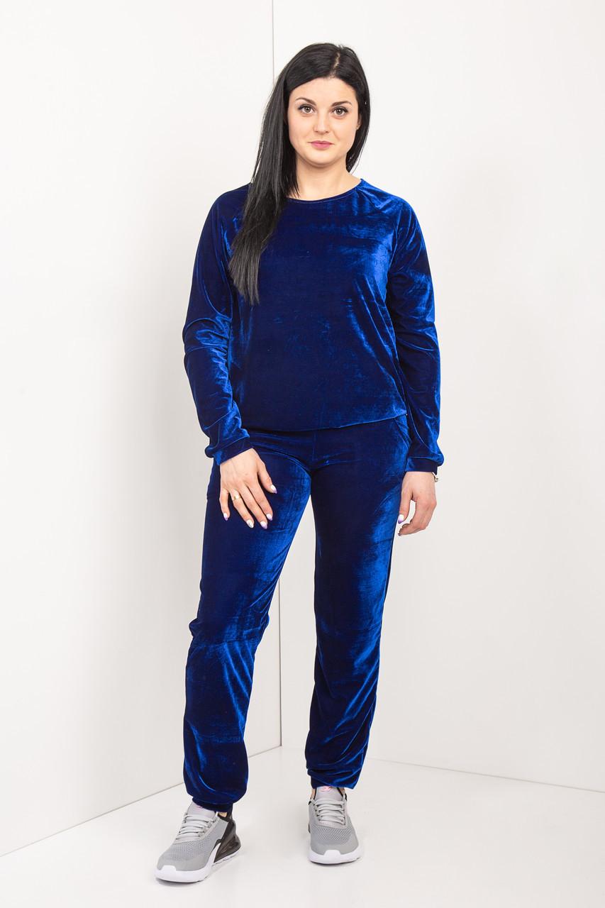 Женский велюровый костюм синего цвета 46-64 р-р