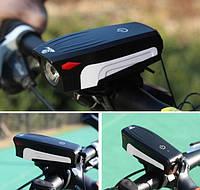 Фонарь велосипедный аккумуляторный со звуковым сигналом AS-0909