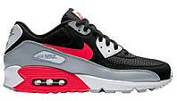 Мужские кроссовки Nike Air Max 90 Essential Black Grey Red (найк аир макс 90, черные/серые/красные)