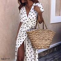 Модное женское платье в горошек на запах Разные цвета
