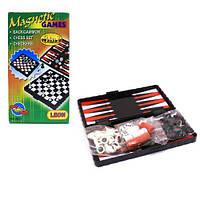 Игра 3 в 1 (магнитные: шахматы, шашки, нарды)