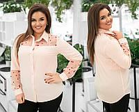 Красивая женская блузка блуза рубашка с вышивкой пудра 48 50 52 54, фото 1